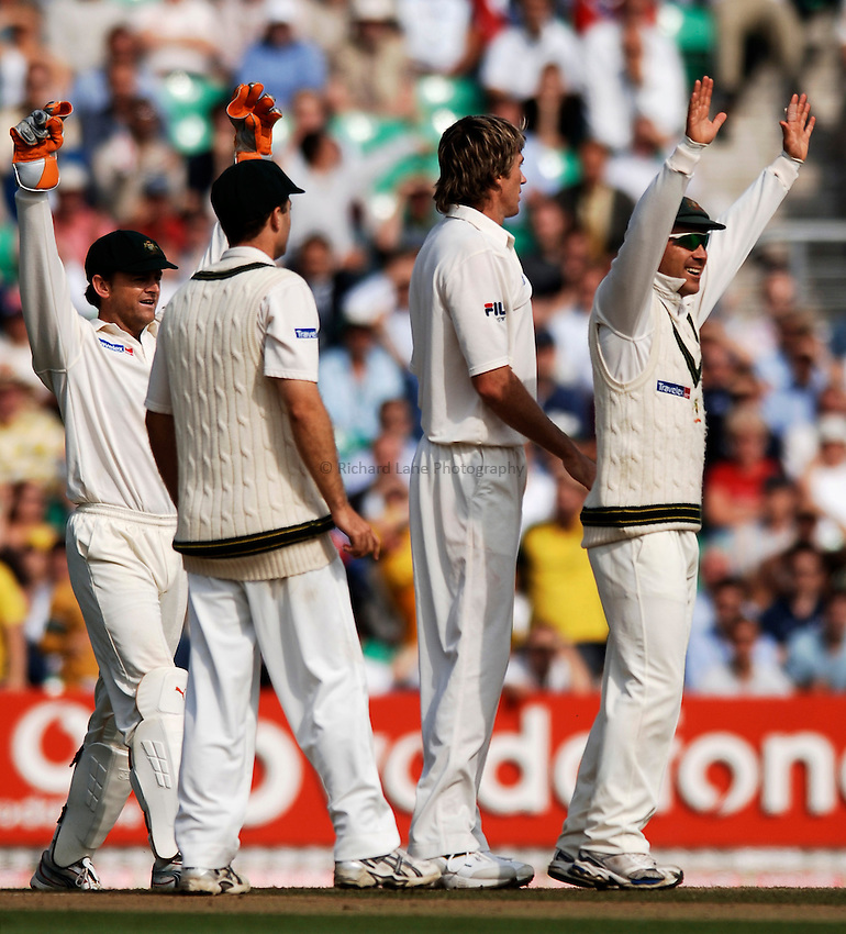 Photo: Glyn Thomas..England v Australia. nPower Test Series. The Ashes 2005..12/09/2005..England's Glenn McGrath (second from R) appeals in vain for the wicket of Kevin Pietersen, which would have given him a hattrick.