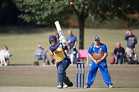 Kelly Castle of Essex lofts into the on side during Upminster CC vs Essex CCC, Benefit Match Cricket at Upminster Park on 8th September 2019