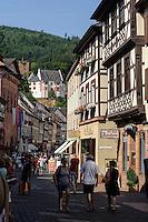 Mildenburg und Hauptstaße, Miltenberg in Unterfranken, Bayern, Deutschland