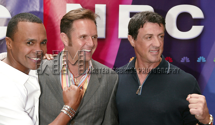 Sugar Ray Leonard, Mark Burnett and Sylvester Stallone<br /> ( THE CONTENDER )<br /> Attending the NBC Network 2004-2005 Upfront announcements at Radio City Music Hall in New York City.<br /> May 17, 2004