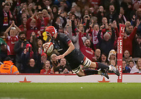 Wales' Cory Hill scores his side's seventh try<br /> <br /> Photographer Ian Cook/CameraSport<br /> <br /> Under Armour Series Autumn Internationals - Wales v Tonga - Saturday 17th November 2018 - Principality Stadium - Cardiff<br /> <br /> World Copyright © 2018 CameraSport. All rights reserved. 43 Linden Ave. Countesthorpe. Leicester. England. LE8 5PG - Tel: +44 (0) 116 277 4147 - admin@camerasport.com - www.camerasport.com