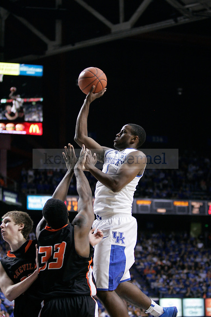 UK guard Darius Miller puts the ball up against Pikeville College at Rupp Arena on Monday, Nov. 1, 2010. Photo by Scott Hannigan | Staff