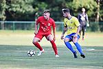 2018-06-27 / Voetbal / Seizoen 2018-2019 / KFC Brasschaat - R. Antwerp FC / Yehor Zazaryna (l. Antwerp) met Matthew Haesendonckx<br /> <br /> ,Foto: Mpics