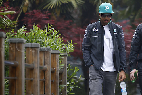 17.04.2014. Shanghai, China.  Motorsports: FIA Formula One World Championship 2014, Grand Prix of China, 44 Lewis Hamilton (GBR, Mercedes AMG Petronas F1 Team),arrives at the track