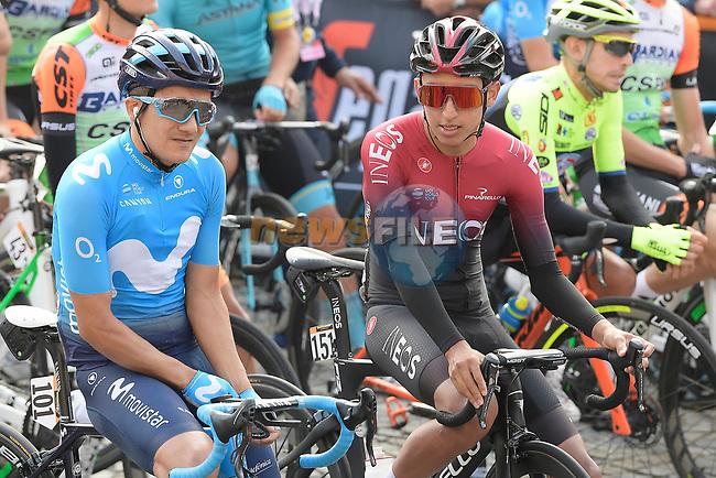 Giro winner Richard Carapaz (ECU) Movistar Team and Tour winner Egan Bernal (COL) Team Ineos chat before the start of the 103rd edition of GranPiemonte 2019 running 183km from Aglie to Santuario di Oropa (Biella), Italy. 10th Octobre 2019. <br /> Picture: Fabio Ferrari/LaPresse | Cyclefile<br /> <br /> All photos usage must carry mandatory copyright credit (© Cyclefile | LaPresse/Fabio Ferrari)