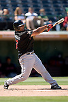 Indianapolis Indians catcher Carlos Maldonado follows through on his swing versus the Charlotte Knights at Knights Stadium in Fort Mill, SC, Sunday, August 13, 2006.