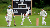 East of Scotland Cricket League, Div 3 - Clackmannan County CC v Livingston CC - Clackmannan Capt Craig Black bowls between teammate Graham Oliver (right) and Livingston batsman Faraz Ashghar (left, who went on to make 62 not out) - Picture by Donald MacLeod 17.07.10 - mobile 07702 319 738 - clanmacleod@btinternet.com