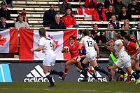 Magali Harvey runs down the left touchline during the 2017 International Women's Rugby Series rugby match between England Roses and Canada at Rugby Park in Christchurch, New Zealand on Tuesday, 13 June 2017. Photo: Dave Lintott / lintottphoto.co.nz