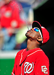 22 April 2010: Washington Nationals' outfielder Nyjer Morgan has some fun with hydration prior to a game against the Colorado Rockies at Nationals Park in Washington, DC. The Nationals were shut out by the Rockies 2-0 closing out their series with a 2-2 game split. Mandatory Credit: Ed Wolfstein Photo