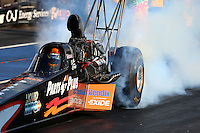 Jul. 18, 2014; Morrison, CO, USA; NHRA top fuel driver Clay Millican during qualifying for the Mile High Nationals at Bandimere Speedway. Mandatory Credit: Mark J. Rebilas-