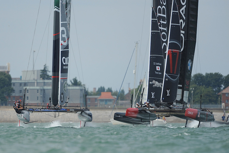 Oracle Team USA, JULY 24, 2016 - Sailing: Oracle Team USA, SoftBank Team Japan and Land Rover BAR race towards the first mark during day two of the Louis Vuitton America's Cup World Series racing, Portsmouth, United Kingdom. (Photo by Rob Munro/Stewart Communications)