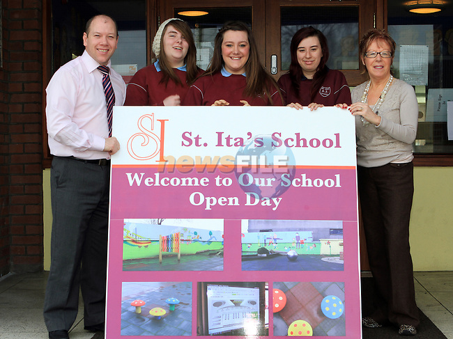 Principal Michael Morley, Ashling Halpin, Aoife Fagan, Lauren Hanratty and Mary Reynolds at the Open Day in St. Itas School...(Photo credit should read Jenny Matthews www.newsfile.ie)....