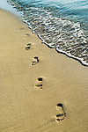 vertical footprints sand footprint foot print bare foot barefoot feet toe sole arch mark imprint imprinted impression memory memories beach seaside oceanside shore shoreline tourism tropic tropical stranded deserted sandy water saltwater