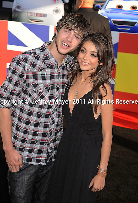 "HOLLYWOOD, CA -JUNE 18: Matt Prokop and Sarah Hyland  attend the ""Cars 2"" Los Angeles Premiere at the El Capitan Theatre on June 18, 2011 in Hollywood, California."