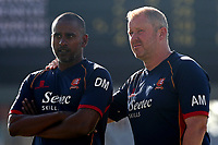 Essex head coach Anthony McGrath (R) and assistant Dimitri Mascherenhas after victory during Lancashire CCC vs Essex CCC, Specsavers County Championship Division 1 Cricket at Emirates Old Trafford on 11th June 2018