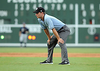 Umpire Blake Felix in a game between the Charleston River Dogs and  the Greenville Drive on July 31, 2011, at Fluor Field at the West End in Greenville, South Carolina. (Tom Priddy/Four Seam Images)