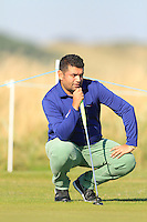 Pritesh Shah (AM) on the 15th green during Round 1 of the 2015 Alfred Dunhill Links Championship at Kingsbarns in Scotland on 1/10/15.<br /> Picture: Thos Caffrey | Golffile