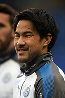 Shinji Okazaki of Leicester city warms up before Chelsea vs Leicester City, Premier League Football at Stamford Bridge on 13th January 2018