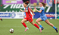 Portland, OR - Saturday April 29, 2017: Hayley Raso, Arin Gilliland during a regular season National Women's Soccer League (NWSL) match between the Portland Thorns FC and the Chicago Red Stars at Providence Park.