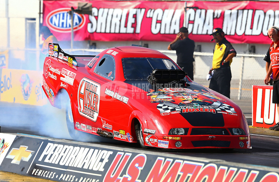 Sept. 1, 2013; Clermont, IN, USA: NHRA top alcohol funny car driver Andy Bohl during qualifying for the US Nationals at Lucas Oil Raceway. Mandatory Credit: Mark J. Rebilas-