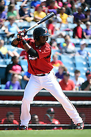 Nashville Sounds second baseman Irving Falu (19) at bat during a game against the Omaha Storm Chasers on May 20, 2014 at Herschel Greer Stadium in Nashville, Tennessee.  Omaha defeated Nashville 4-1.  (Mike Janes/Four Seam Images)