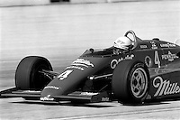 WEST ALLIS, WI - JUNE 2: Indianapolis 500 winner Danny Sullivan drives his March 85C/Cosworth in the Miller American 200 CART IndyCar race at the Milwaukee Mile oval track in West Allis, Wisconsin, on June 2, 1985.
