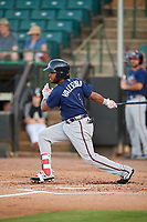 Mississippi Braves Luis Valenzuela (1) at bat during a Southern League game against the Jackson Generals on July 23, 2019 at The Ballpark at Jackson in Jackson, Tennessee.  Mississippi defeated Jackson 1-0 in the second game of a doubleheader.  (Mike Janes/Four Seam Images)