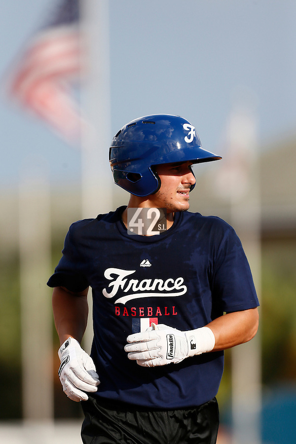 18 September 2012: France Maxime Lefevre runs the bases during Team France practice, at the 2012 World Baseball Classic Qualifier round, in Jupiter, Florida, USA.
