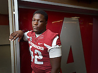 NWA Democrat-Gazette/BEN GOFF &bull; @NWABENGOFF<br /> Kendrick Jackson, freshman linebacker, poses for a photo on Sunday Aug. 9, 2015 during Arkansas football media day at the Fred W. Smith Football Center in Fayetteville.