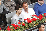 Spanish journalist Manu Carreno with his son during Madrid Open Tennis 2016 Semifinal match.May, 7, 2016.(ALTERPHOTOS/Acero)
