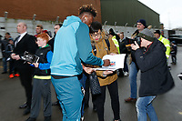 Tammy Abraham of Swansea City signs autographs during The Emirates FA Cup match between Notts County and Swansea City at Meadow Lane, Nottingham, England, UK. Saturday 27 January 2018