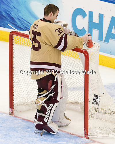 Parker Milner (BC - 35) - The Boston College Eagles defeated the University of Minnesota Golden Gophers 6-1 in their 2012 Frozen Four semi-final on Thursday, April 5, 2012, at the Tampa Bay Times Forum in Tampa, Florida.