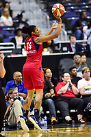 Washington, DC - June 15, 2018: Washington Mystics guard Tierra Ruffin-Pratt (14) shoots a three point basket during game between the Washington Mystics and Los Angeles Sparks at the Capital One Arena in Washington, DC. (Photo by Phil Peters/Media Images International)