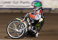 Heat 7: Charlie Gjedde (green) is shadowed by Edward Kennett (red) - Lakeside Hammers vs Belle Vue Aces at The Arena Essex Raceway, Lakeside - 10/09/08 - MANDATORY CREDIT: Rob Newell/TGSPHOTO