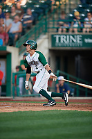 Fort Wayne TinCaps Ethan Skender (3) at bat during a Midwest League game against the Peoria Chiefs on July 17, 2019 at Parkview Field in Fort Wayne, Indiana.  Fort Wayne defeated Peoria 6-2.  (Mike Janes/Four Seam Images)