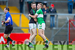 James O'Donoghue Legionand Tomas O'Sé Nemo Rangers hug after the AIB Munster club SFC clash in Pairc Uí Rinn on Sunday