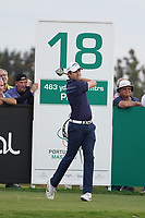 Steven Brown (ENG) on the 18th during Round 4 of the Portugal Masters, Dom Pedro Victoria Golf Course, Vilamoura, Vilamoura, Portugal. 27/10/2019<br /> Picture Andy Crook / Golffile.ie<br /> <br /> All photo usage must carry mandatory copyright credit (© Golffile | Andy Crook)