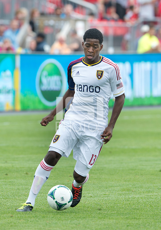 29 June 2013: Real Salt Lake forward Olmes Garcia #13 in action during an MLS game between Real Salt Lake and Toronto FC at BMO Field in Toronto, Ontario Canada.<br /> Real Salt Lake won 1-0.