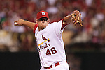 June 18, 2010       St. Louis Cardinals relief pitcher Kyle McClellan (46) throws late in the game.  The St. Louis Cardinals defeated the Oakland Athletics 6-4 in the first game of a three-game homestand at Busch Stadium in downtown St. Louis, MO on Friday June 18, 2010.