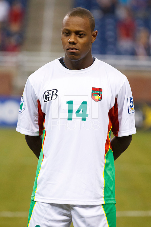Guadeloupe midfileder Gregory Gendrey (14) before the CONCACAF soccer match between Panama and Guadeloupe at Ford Field Detroit, Michigan.