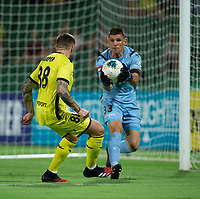 7th February 2020; HBF Park, Perth, Western Australia, Australia; A League Football, Perth Glory versus Wellington Phoenix; Liam Reddy of the Perth Glory catches the through ball ahead of Gary Hooper looking to score his third goal