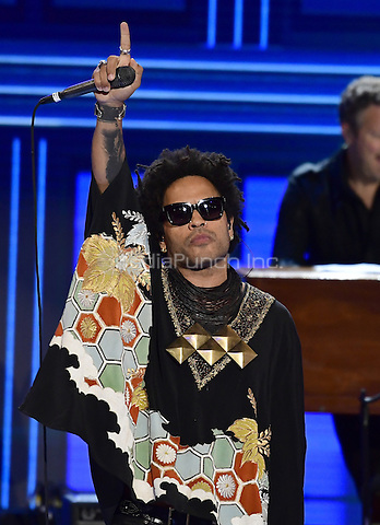 Lenny Kravitz performs during the third session of the 2016 Democratic National Convention at the Wells Fargo Center in Philadelphia, Pennsylvania on Wednesday, July 27, 2016.<br /> Credit: Ron Sachs / CNP/MediaPunch<br /> (RESTRICTION: NO New York or New Jersey Newspapers or newspapers within a 75 mile radius of New York City)