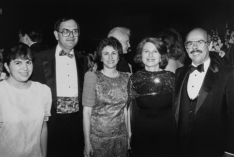 At the American Cancer Society Gala. Rep. Martin Frost, D-Tex., with daughter Alanna Frost, wife Valerie Frost, Rep. Henry Waxman, D-Calif., and wife Janet Kessler, on May 11, 1991. (Photo by Maureen Keating/CQ Roll Call via Getty Images)