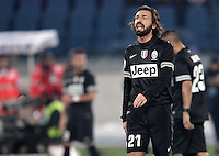 Calcio, semifinale di ritorno di Coppa Italia: Lazio vs Juventus. Roma, stadio Olimpico, 29 gennaio 2013..Juventus midfielder Andrea Pirlo reacts after Lazio scored the winning goal during the Italy Cup football semifinal return leg match between Lazio and Juventus at Rome's Olympic stadium, 29 January 2013. Lazio won 2-1 to reach the final match scheduled on May..UPDATE IMAGES PRESS/Riccardo De Luca