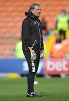 Blackpool Goalkeeper Coach Dave Timmins during the pre-match warm-up <br /> <br /> Photographer Kevin Barnes/CameraSport<br /> <br /> The EFL Sky Bet League One - Blackpool v Gillingham - Saturday 4th May 2019 - Bloomfield Road - Blackpool<br /> <br /> World Copyright © 2019 CameraSport. All rights reserved. 43 Linden Ave. Countesthorpe. Leicester. England. LE8 5PG - Tel: +44 (0) 116 277 4147 - admin@camerasport.com - www.camerasport.com