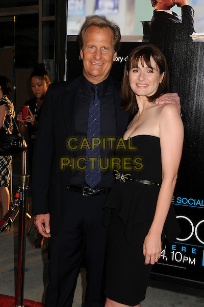 "Jeff Daniels, Emily Mortimer.HBO's ""The Newsroom"" Los Angeles Premiere held at The Cinerama Dome, Hollywood, California, USA..June 20th, 2012.half length suit strapless peplum side dress belt  black tie blue.CAP/ADM/BP.©Byron Purvis/AdMedia/Capital Pictures."