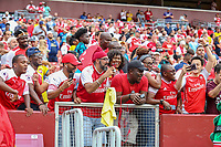 Landover, MD - July 23, 2019: Arsenal fans during the match between Arsenal and Real Madrid at FedEx Field in Landover, MD.   (Photo by Elliott Brown/Media Images International)
