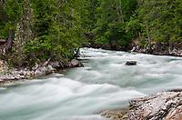 Stehekin River flows by Car Wash Falls washout in North Cascades National Park, Washington State