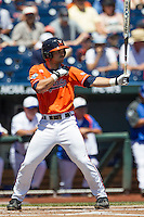 Virginia Cavaliers third baseman Kenny Towns (9) at bat against the Florida Gators in Game 11 of the NCAA College World Series on June 19, 2015 at TD Ameritrade Park in Omaha, Nebraska. The Gators defeated Virginia 10-5. (Andrew Woolley/Four Seam Images)