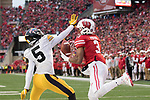 Wisconsin Badgers wide receiver Kendric Pryor (3) catches a touchdown pass during an NCAA College Big Ten Conference football game against the Iowa Hawkeyes Saturday, November 11, 2017, in Madison, Wis. The Badgers won 38-14. (Photo by David Stluka)